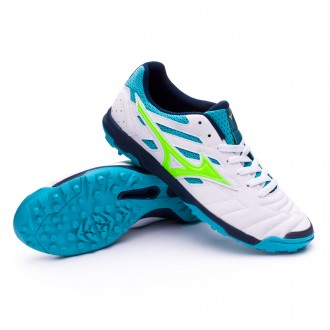Futsal Boot  Mizuno Sala Classic 2 AS White-Green-Pea cock blue