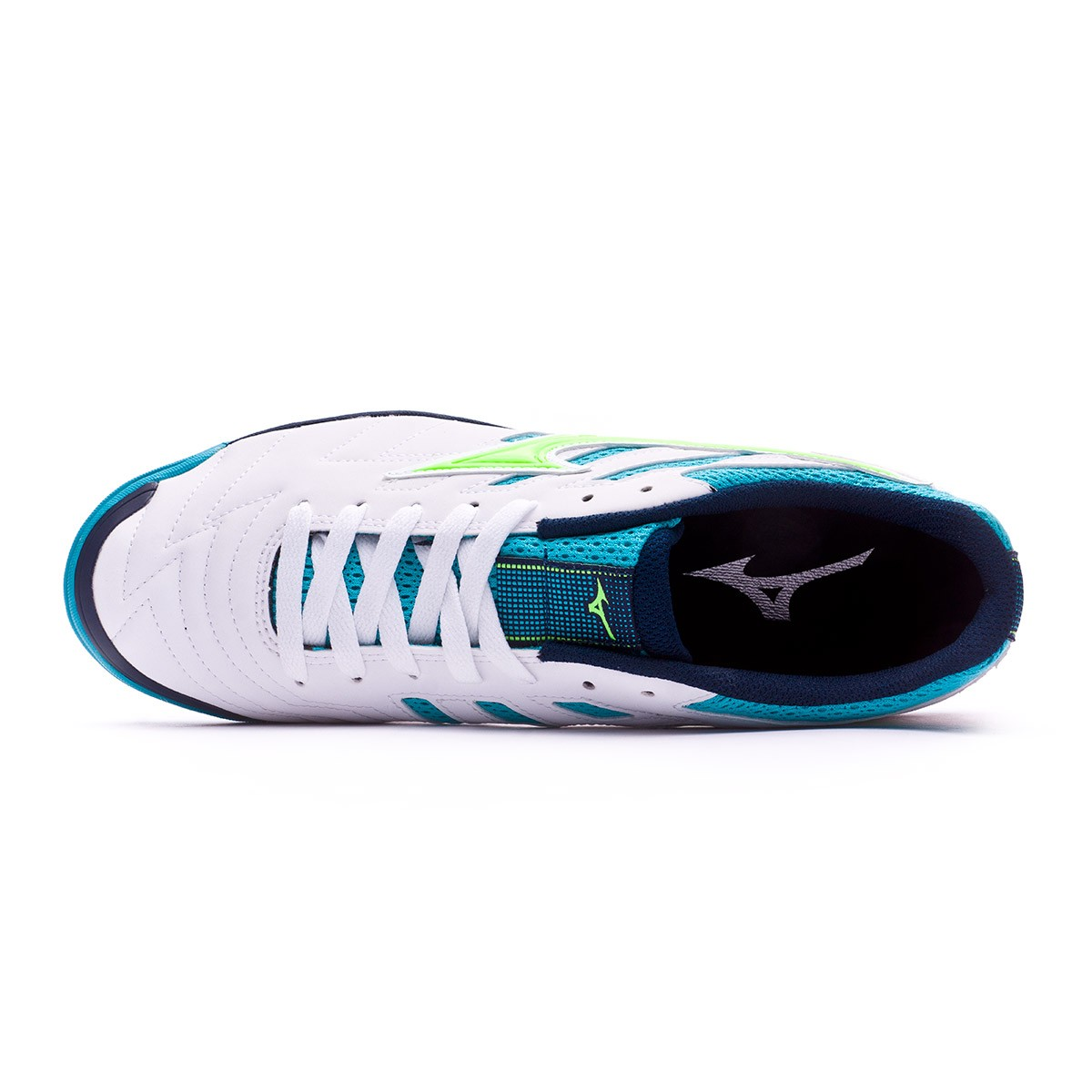ce6637ed8497 Futsal Boot Mizuno Sala Classic 2 AS White-Green-Pea cock blue - Tienda de fútbol  Fútbol Emotion