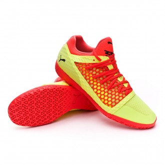 Sapatilha de Futsal  Puma 365 Netfit CT Fizzy Yellow-Red Blast-Puma Black