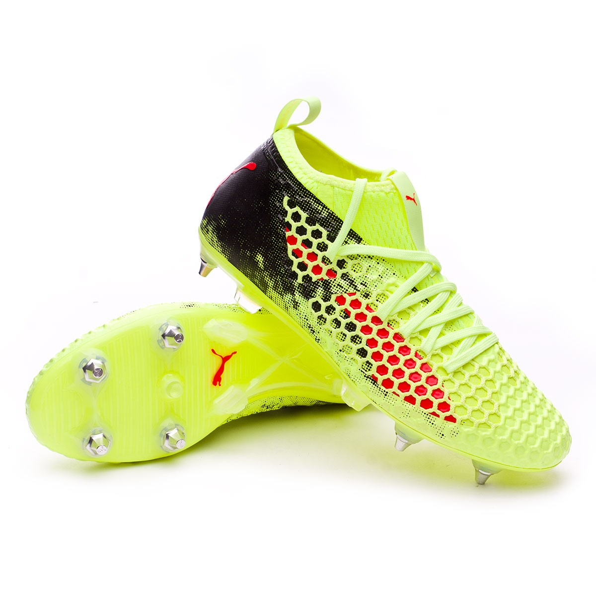 2cf896deb68 Puma Future 18.2 Netfit SG Boot. Fizzy Yellow-Red Blast-Puma Black ...