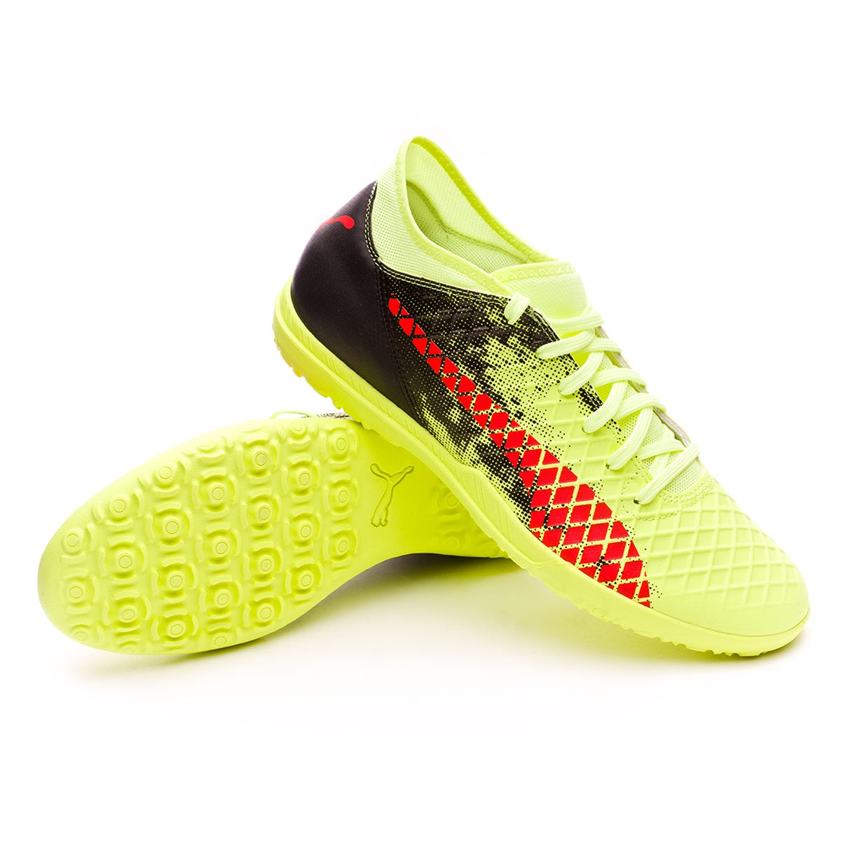 Puma Future 18.4 Turf Football Boot. Fizzy Yellow-Red Blast-Puma Black ... ae66949054