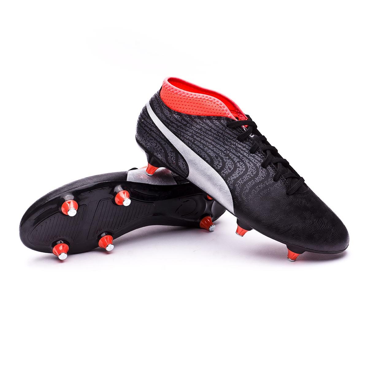 f0fbc18fb15 Football Boots Puma One 18.4 SG Puma Black-Puma Silver-Red Blast ...