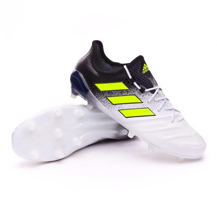 sports shoes 50adb 7bff9 Bota Ace 17.1 FG Leather White-Solar yellow-Black
