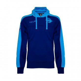Sweatshirt  Kelme con capucha Dep. Alavés Paseo Jugadores 2017-2018 Azul Marinho-Turquesa