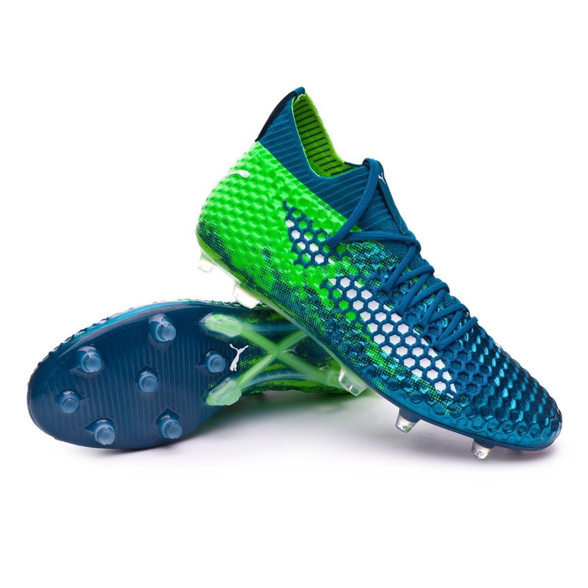d9e30251b8ffd4 Puma Future 18.1 Netfit hyFG Boot. Deep Lagoon-Puma white-Green gecko ...