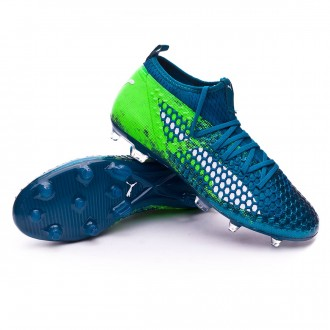 Chaussure de football  Puma Future 18.2 Netfit hyFG Deep Lagoon-Puma white-Green gecko