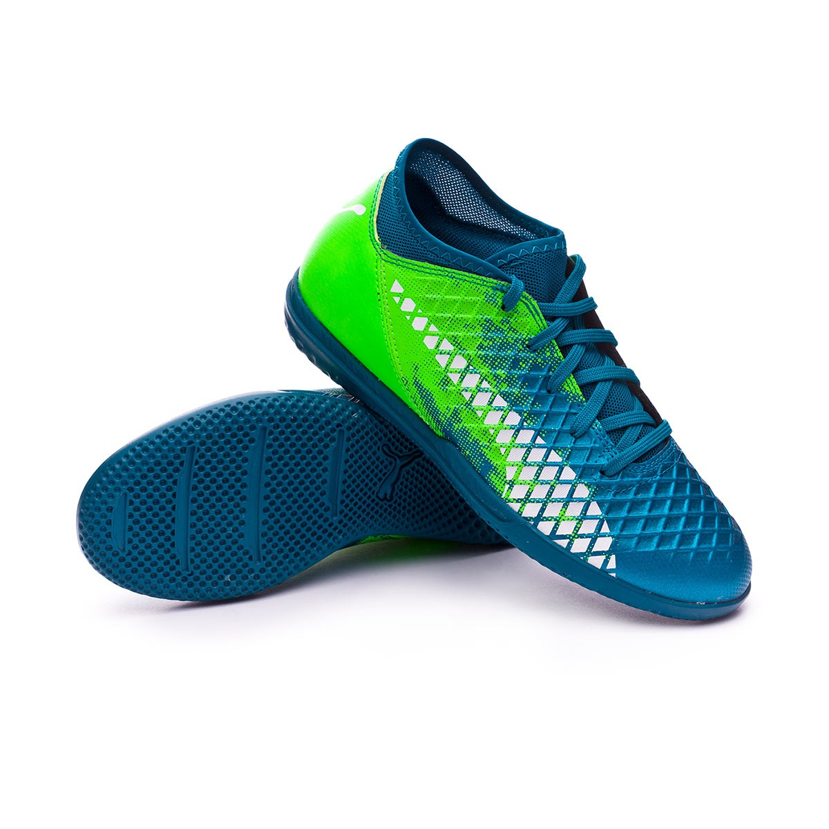 Futsal Boot Puma Future 18.4 IT Niño Deep Lagoon-Puma white-Green gecko -  Football store Fútbol Emotion 96b4b5538a