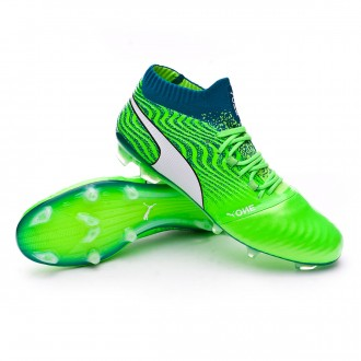 Chaussure de football  Puma One 18.1 FG Green gecko-Puma white-Deep lagoon