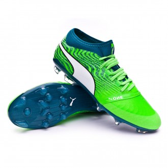 Chaussure de football  Puma One 18.2 AG Green gecko-Puma white-Deep lagoon