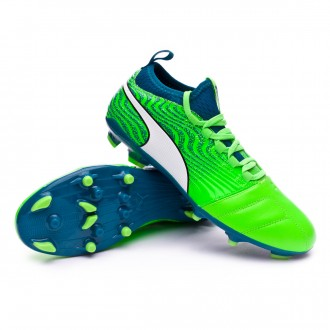 Chaussure de football  Puma One 18.3 AG Green gecko-Puma white-Deep lagoon
