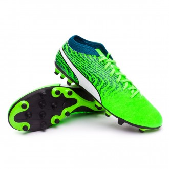 Chaussure de football  Puma One 18.4 AG Green gecko-Puma white-Deep lagoon