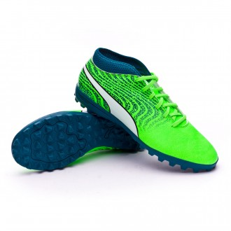Chaussure de football  Puma One 18.4 Turf Green gecko-Puma white-Deep lagoon