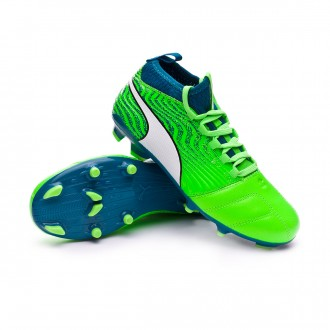 Chaussure de football  Puma One 18.3 FG enfant Green gecko-Puma white-Deep lagoon