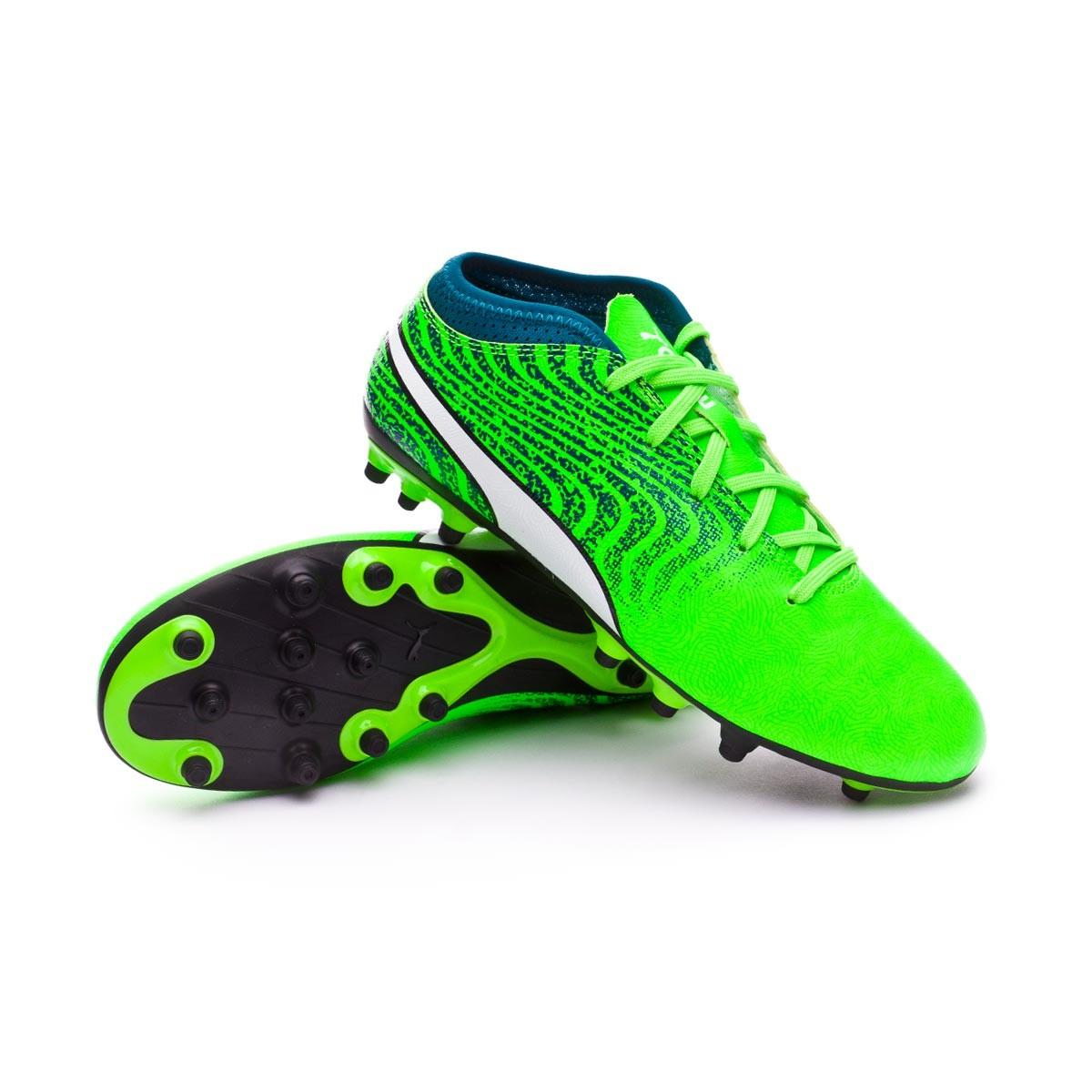 Boot Puma Kids One 18.4 AG Green gecko-Puma white-Deep lagoon ... 047d83e94200