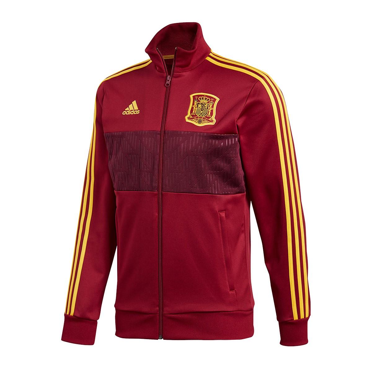 esposas Escoba Subvención  Jacket adidas Spain 3S Track Top 2017-2018 Collegiate burgundy - Football  store Fútbol Emotion