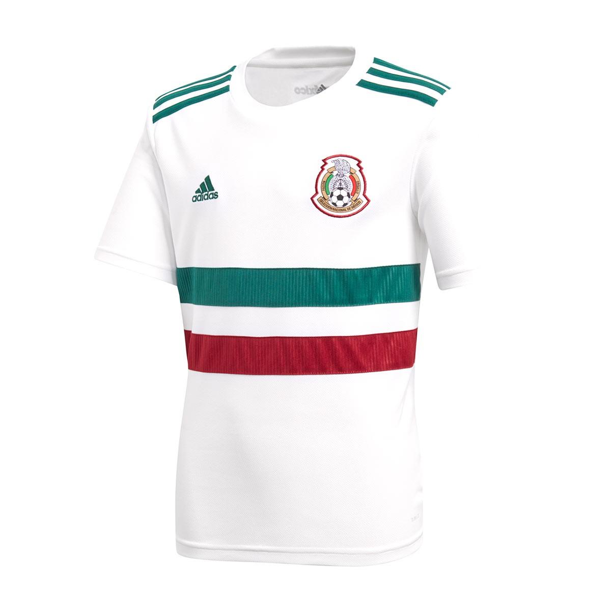 79416ec2037b6 Camiseta adidas México Segunda Equipación 2017-2018 Niño White-Collegiate  green-Collegiate burgundy - Tienda de fútbol Fútbol Emotion