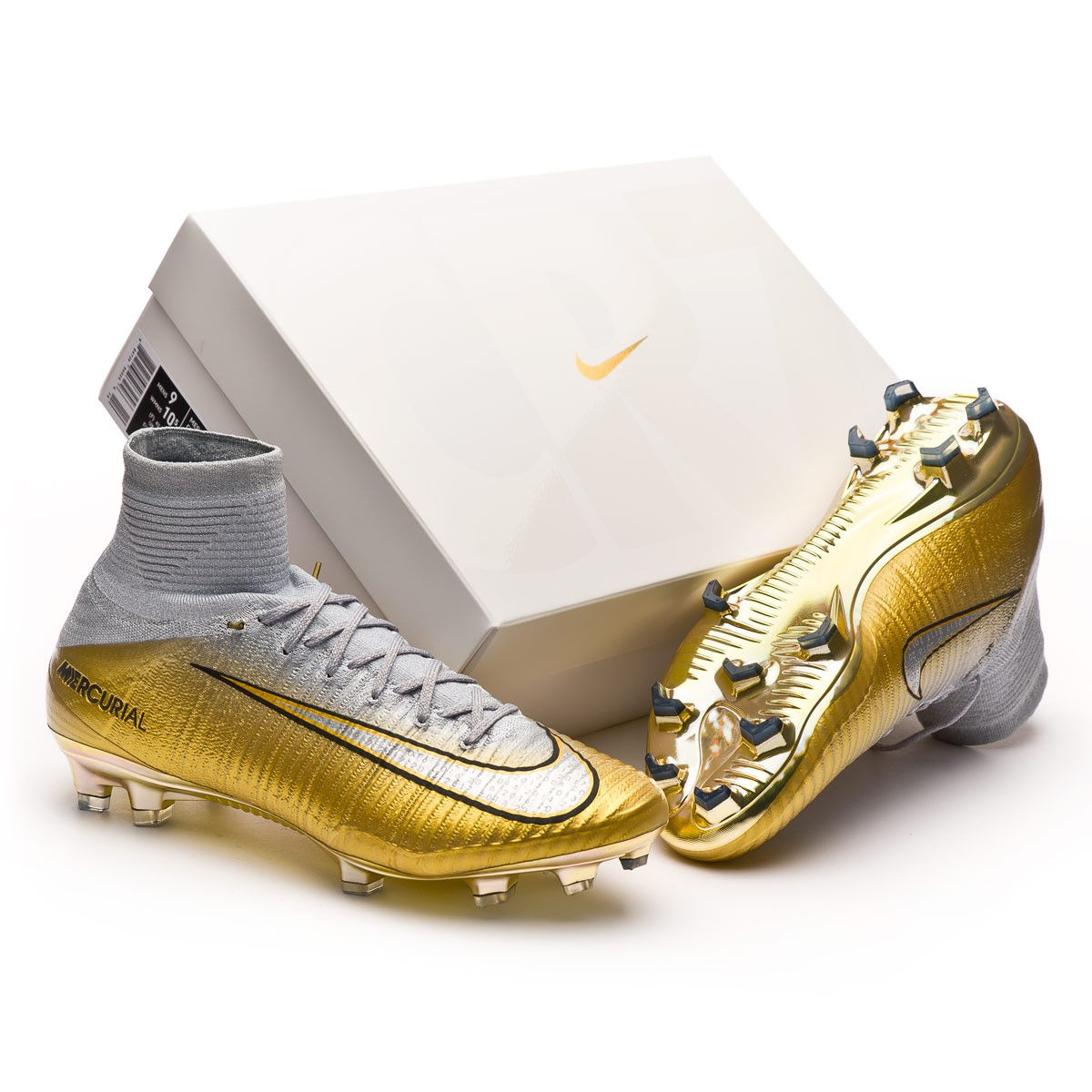 94f30957d39 Mercurial Superfly V CR7 Quinto Triunfo FG Pure platinum-Metallic silver-Wolf  grey