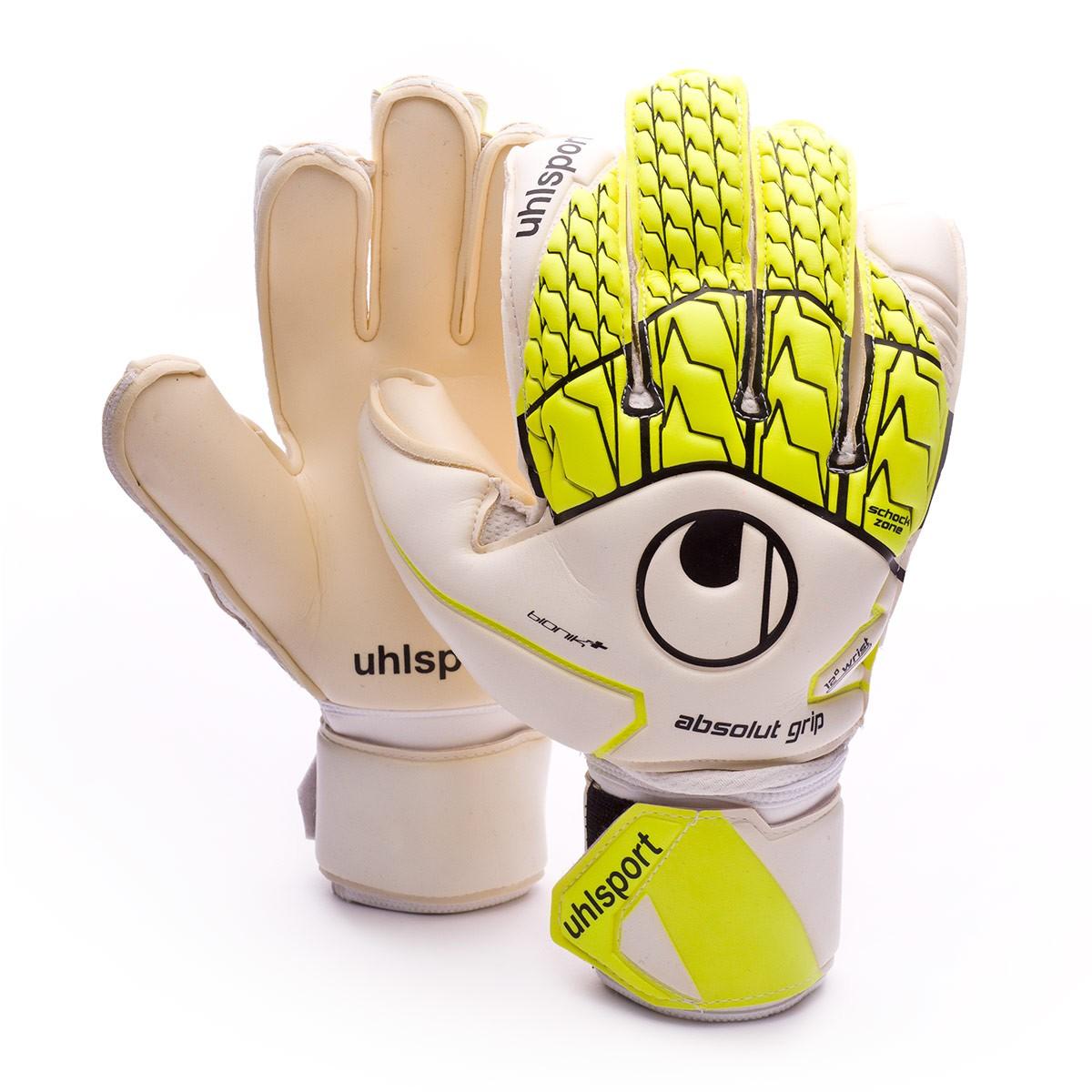 e56997fe4 Glove Uhlsport Absolutgrip Bionik+ White-Fluor yellow-Black - Tienda ...