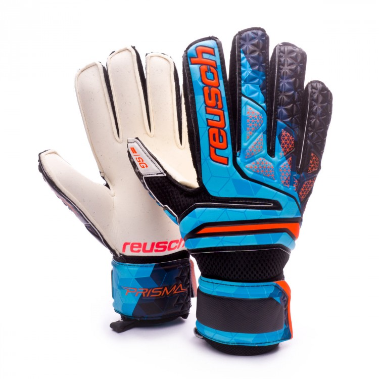 Guante de portero Reusch Prisma SG Finger Support Blue-Black-Orange ... f336cab9a2f76