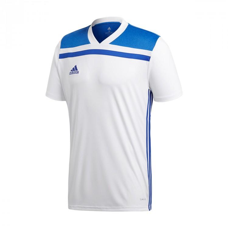 Camiseta adidas Regista 18 m c White-Bold blue - Soloporteros es ... c75394b16bcf5