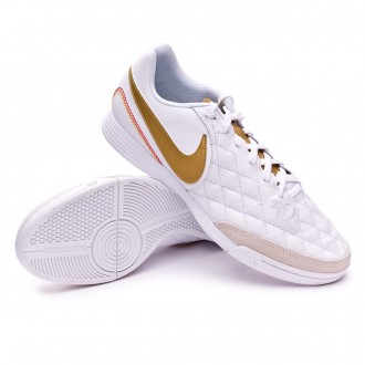 Sapatilha de Futsal  Nike LegendX VII Academy 10R IC White-Metallic gold-White