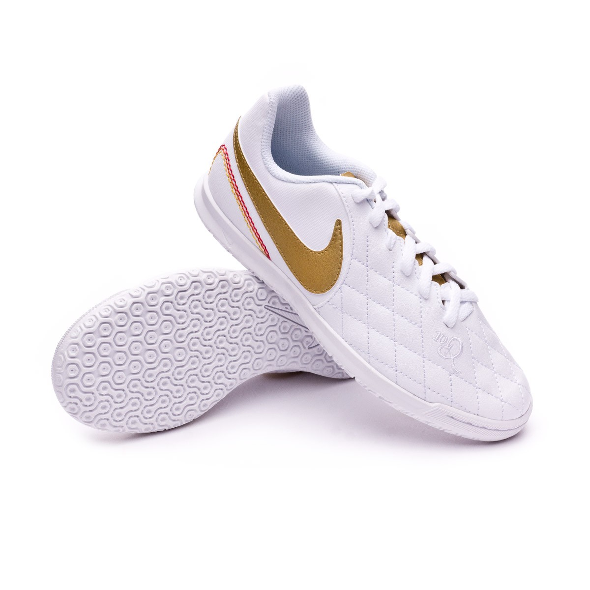 cd502790bf9 Futsal Boot Nike Kids LegendX VII Club 10R IC White-Metallic gold ...