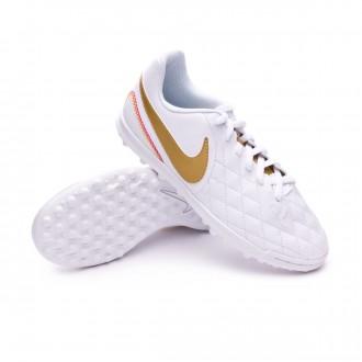 Chaussure de football  Nike LegendX VII Club 10R Turf Enfant White-Metallic gold-White