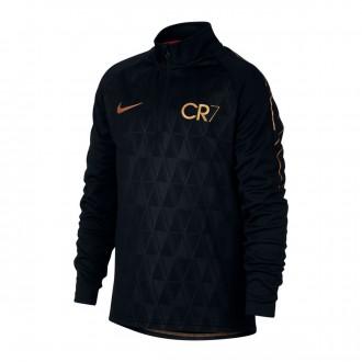 Sweatshirt  Nike Dry Academy CR7 Drill Crianças Black-Metallic gold