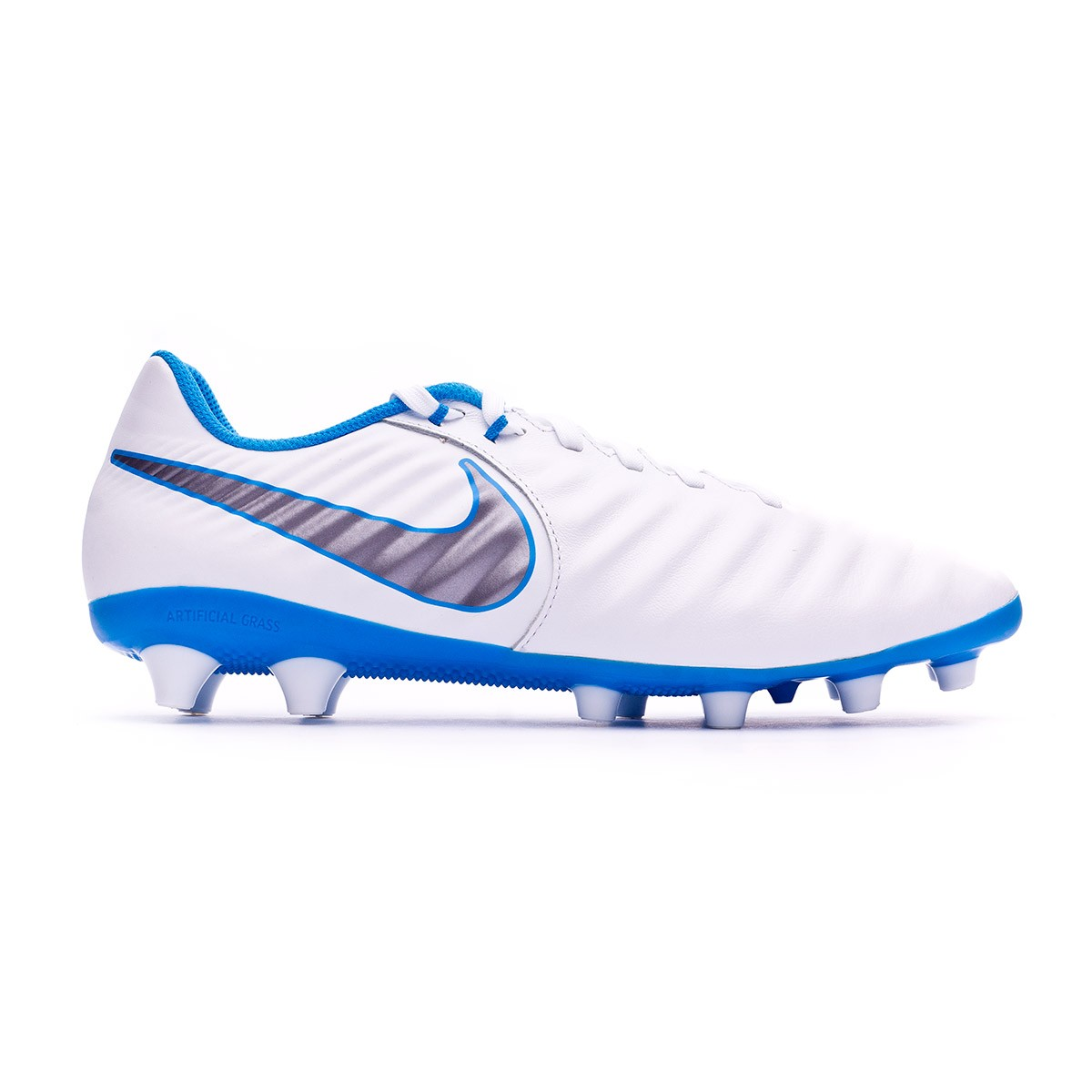 24dc6a88b34 Football Boots Nike Tiempo Legend VII Academy AG-Pro White-Metallic cool  grey-Blue hero - Football store Fútbol Emotion