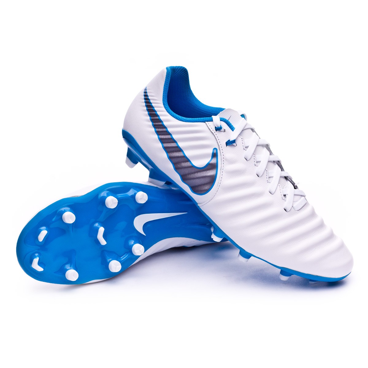 7b531bb47836a Football Boots Nike Tiempo Legend VII Academy FG White-Metallic cool  grey-Blue hero - Football store Fútbol Emotion