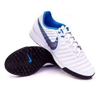 Zapatilla  Nike Tiempo LegendX VII Academy Turf White-Metallic cool grey-Blue hero