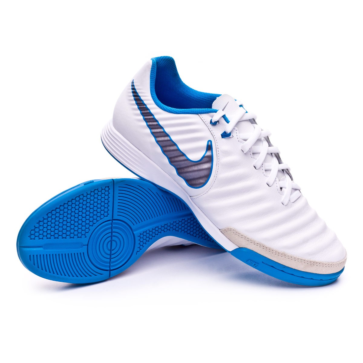 0e67f3ce6 Nike Tiempo LegendX VII Academy IC Futsal Boot. White-Metallic cool grey-Blue  hero ...