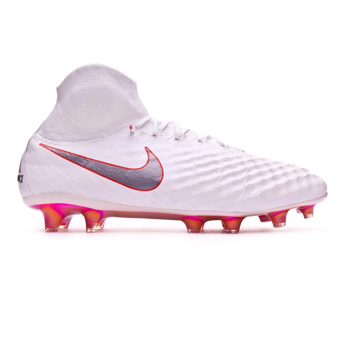 5d60cc19c47e Football Boots Nike Magista Obra II Elite DF FG White-Metallic cool  grey-Light crimson - Football store Fútbol Emotion