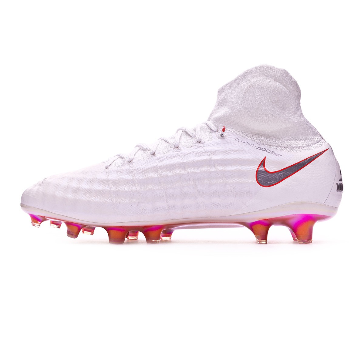 3fea0aa9e3fd Football Boots Nike Magista Obra II Elite DF FG White-Metallic cool  grey-Light crimson - Football store Fútbol Emotion