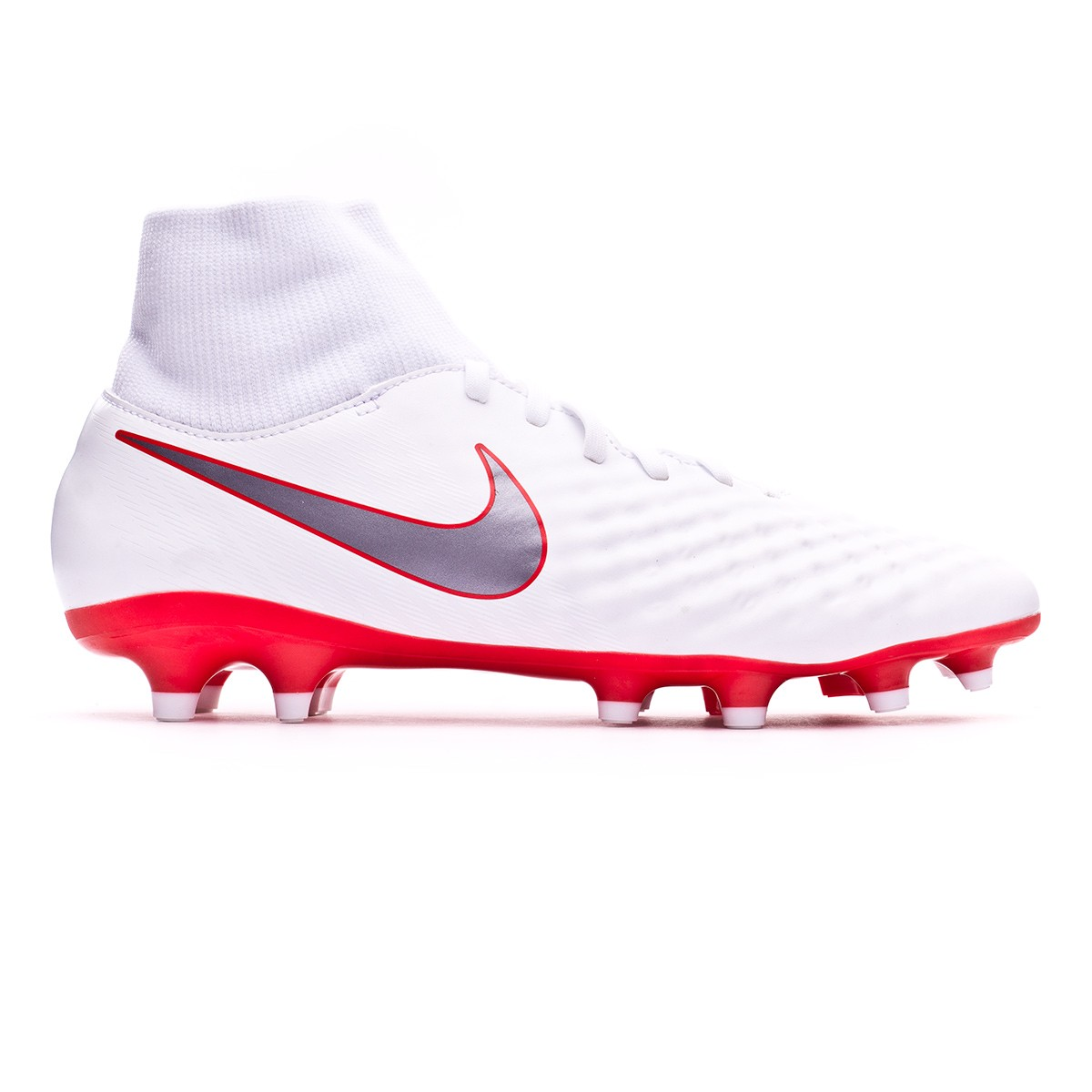 the latest 30c7c 0e81a Chaussure de foot Nike Magista Obra II Academy DF FG White-Metallic cool  grey-Light crimson - Boutique de football Fútbol Emotion