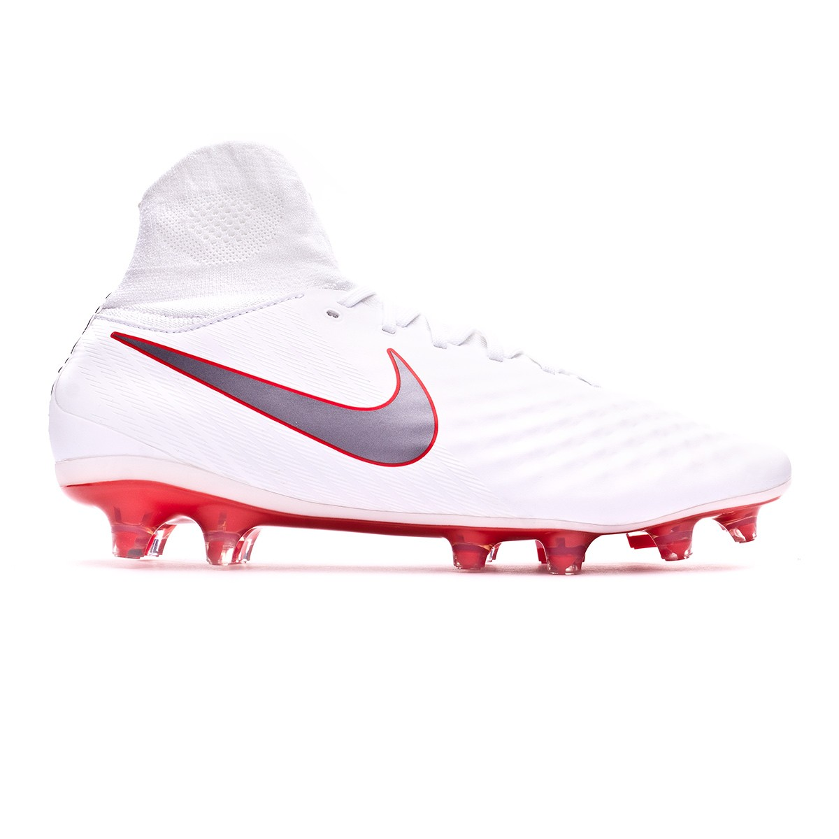 50cdcaad1b6b Football Boots Nike Magista Obra II Pro DF FG White-Metallic cool grey-Light  crimson - Football store Fútbol Emotion