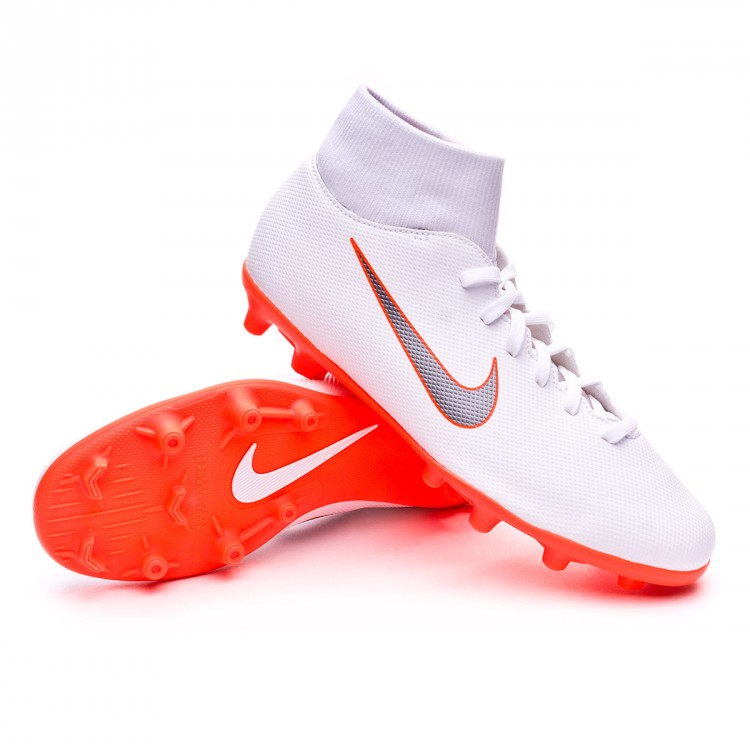 3a95cd190e6 Bota Mercurial Superfly VI Club MG White-Metallic cool grey-Total orange