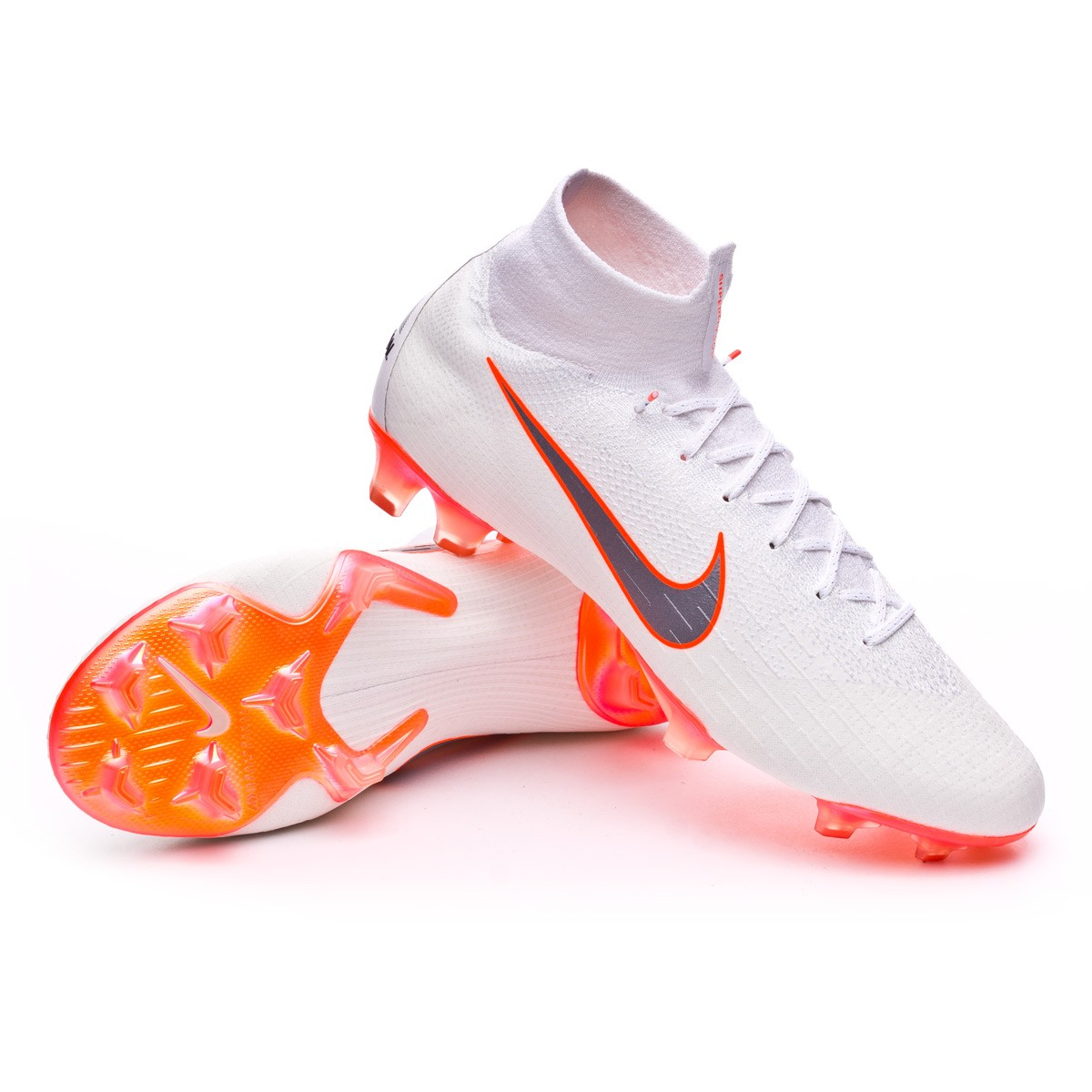 67aa10d46bfe Football Boots Nike Mercurial Superfly VI Elite FG White-Metallic cool  grey-Total orange - Tienda de fútbol Fútbol Emotion