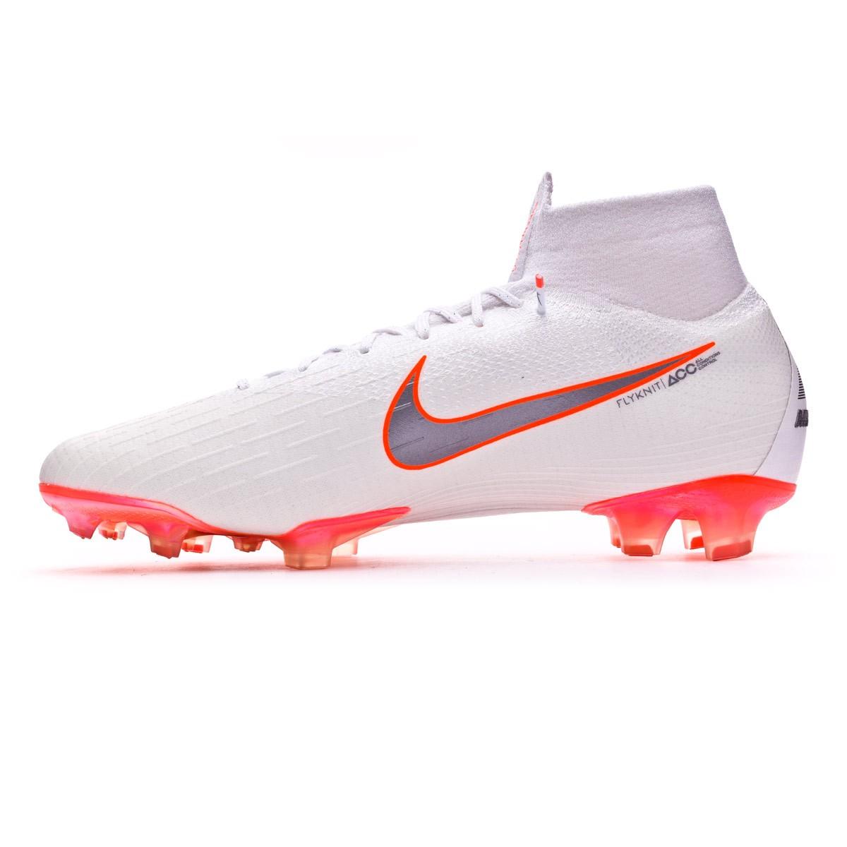 a5f595adacf1 Football Boots Nike Mercurial Superfly VI Elite FG White-Metallic cool grey-Total  orange - Tienda de fútbol Fútbol Emotion