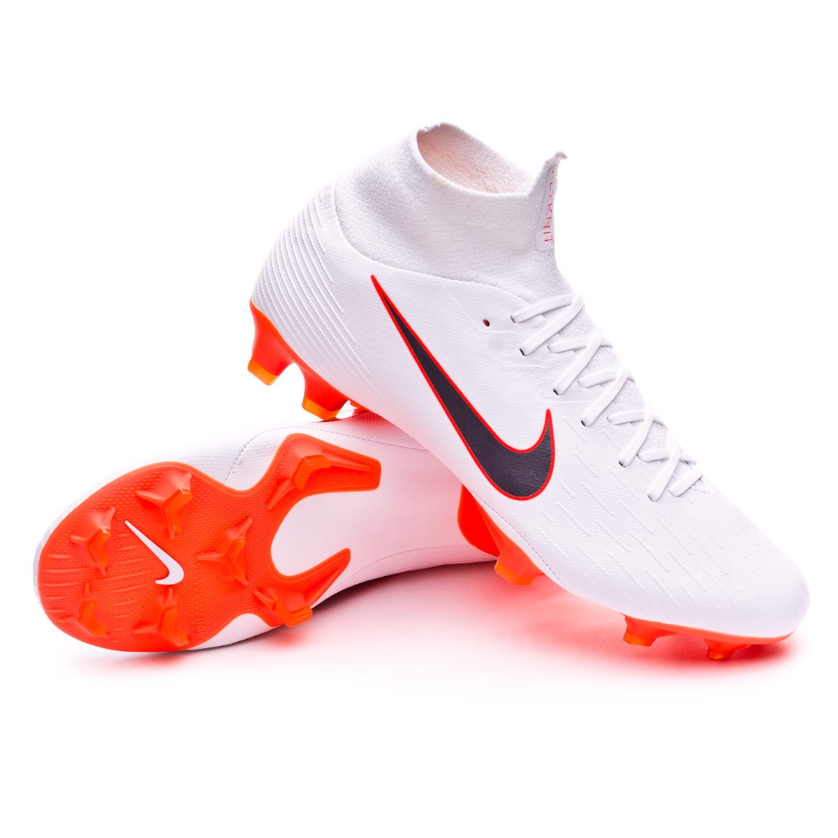 f72f6f89e0c2 Bota Mercurial Superfly VI Pro FG White-Metallic cool grey-Total orange