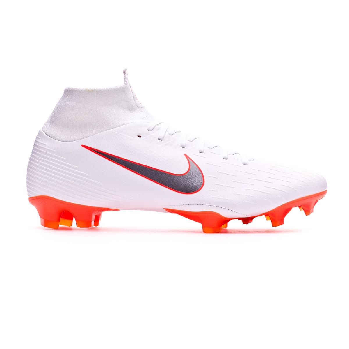 7cee3e6a518 Football Boots Nike Mercurial Superfly VI Pro FG White-Metallic cool grey-Total  orange - Football store Fútbol Emotion
