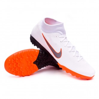 Zapatilla  Nike Mercurial SuperflyX VI Academy Turf White-Metallic cool grey-Total orange