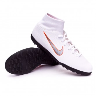 Zapatilla  Nike Mercurial SuperflyX VI Club Turf White-Metallic cool grey-Total orange
