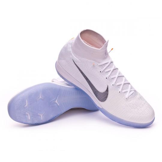 6cea466e95a Futsal Boot Nike Mercurial SuperflyX VI Elite IC White-Metallic cool grey -  Football store Fútbol Emotion