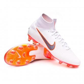 Chaussure de football  Nike Mercurial Superfly VI Elite AG-Pro White-Metallic cool grey-Total orange