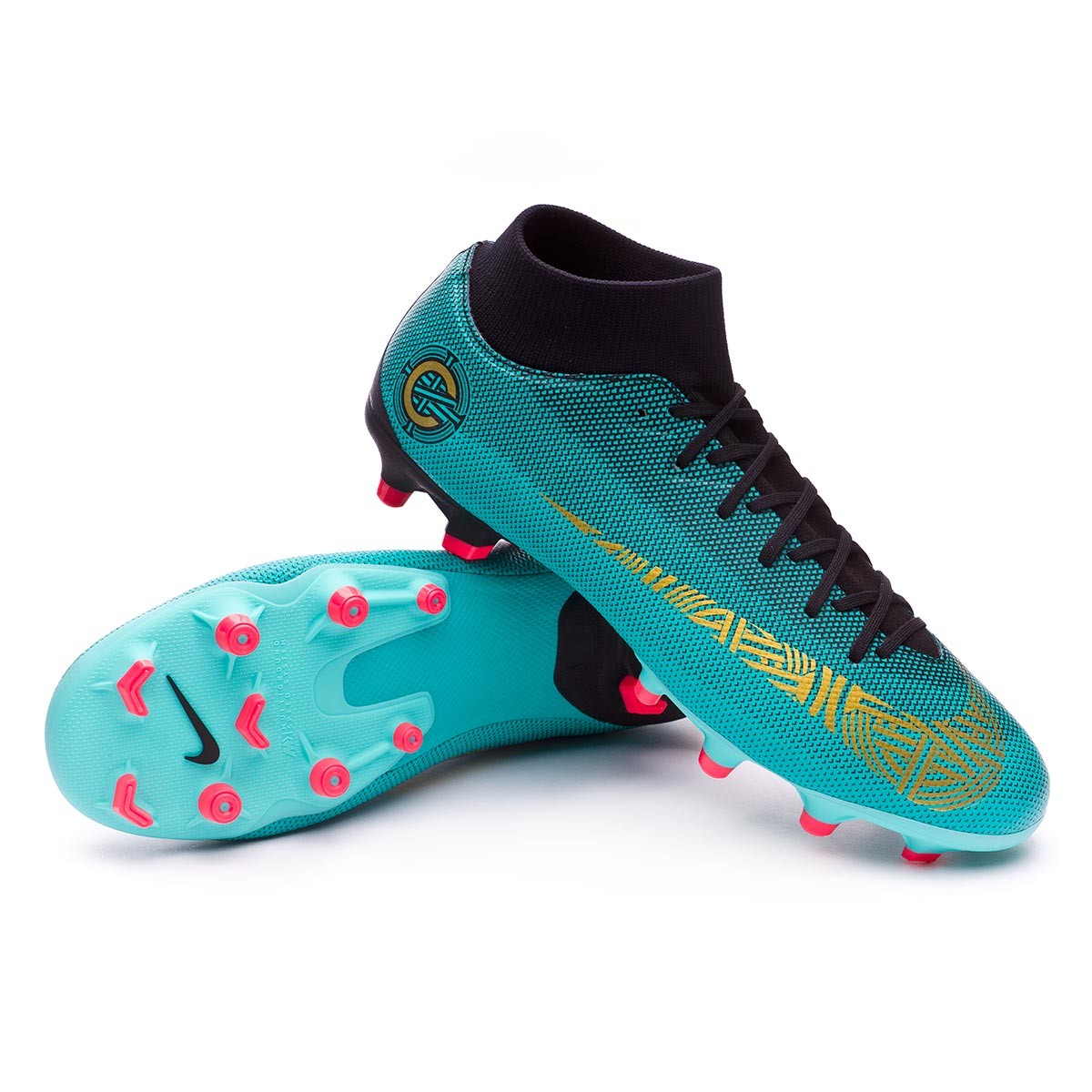 bc021f92f9fe Nike Mercurial Superfly VI Academy CR7 MG Football Boots. Clear jade-Metallic  vivid gold-Black ...