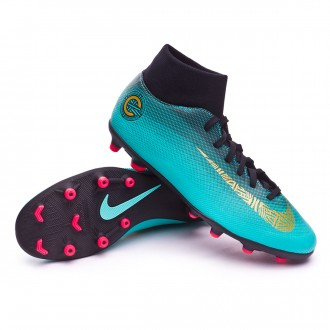 Chaussure de football  Nike Mercurial Superfly VI Club CR7 MG Clear jade-Metallic vivid gold-Black