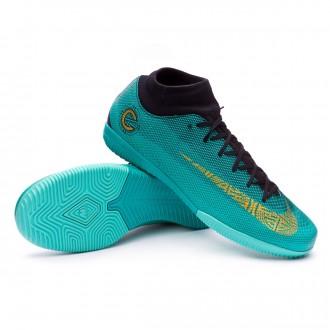 Sapatilha de Futsal  Nike Mercurial SuperflyX VI Academy CR7 IC Clear jade-Metallic vivid gold-Black