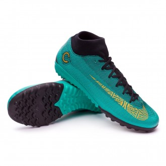 Zapatilla  Nike Mercurial SuperflyX VI Academy CR7 Turf Clear jade-Metallic vivid gold-Black