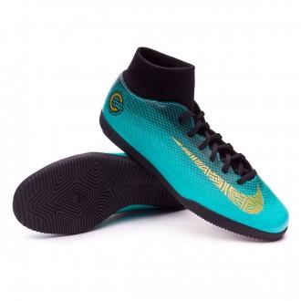 Sapatilha de Futsal  Nike Mercurial SuperflyX VI Club CR7 IC Clear jade-Metallic vivid gold-Black